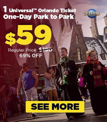 $59 – 1 Universal Orlando Ticket 1 Day Park to Park