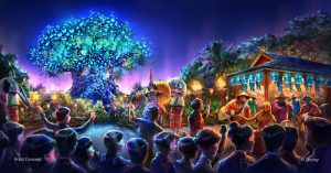 As part of the largest expansion in its history, DisneyÕs Animal Kingdom theme park will be adding all-new entertainment experiences including a new after-dark spectacular centered around and above Discovery River, new nighttime entertainment including live performers on Discovery Island (pictured) and a new night version of Kilimanjaro Safaris. (Concept art, Walt Disney Imagineering)