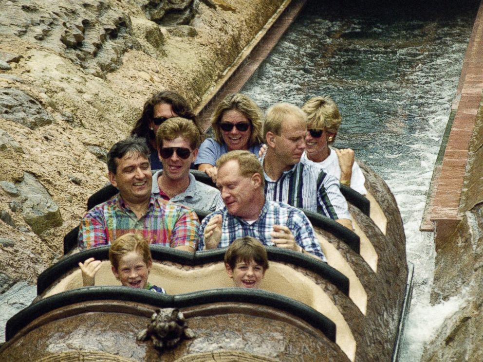 PHOTO: A young Prince Harry, front left, on a ride at Splash Mountain at Walt Disney World in Lake Buena Vista, Florida, August 26, 1993. Riding at back right is Princess Diana.