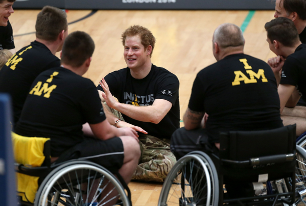 Prince Harry at Invictus Games Orlando with Wheelchair Veterans