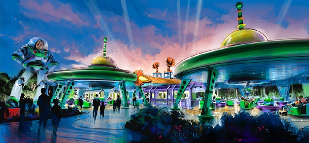 WDW Hollywood Studios Toy Story Land Alien Swirling Saucers poster for content
