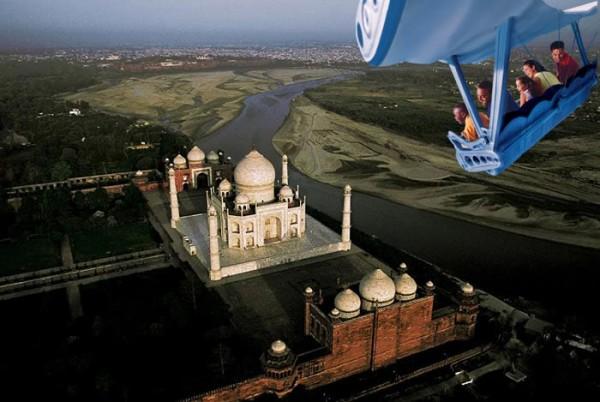 Epcot Soarin' Around the World ride view Taj Mahal