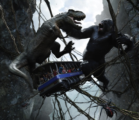 Universal Orlando Skull Island Reign of Kong closeup Kong w Dinosaur & Cable Car image