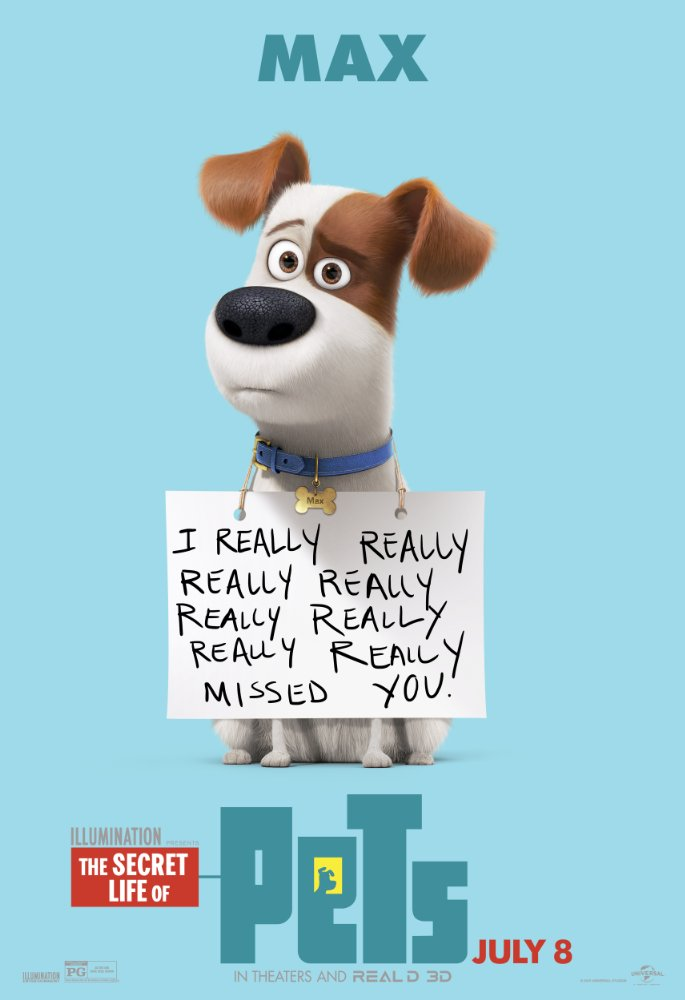 Secret Life of Pets Max with sign
