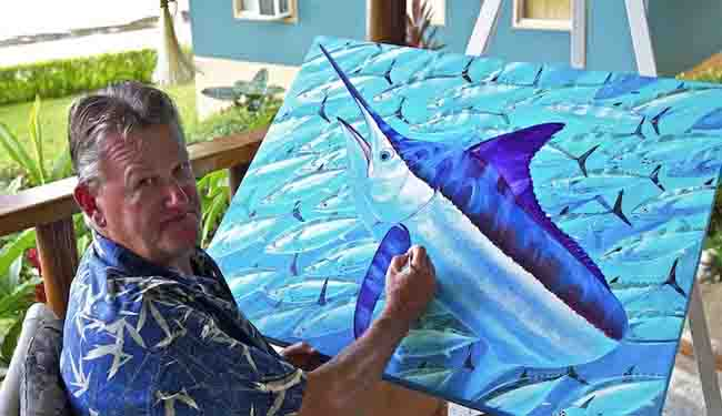 guy-harvey-with-shark-painting