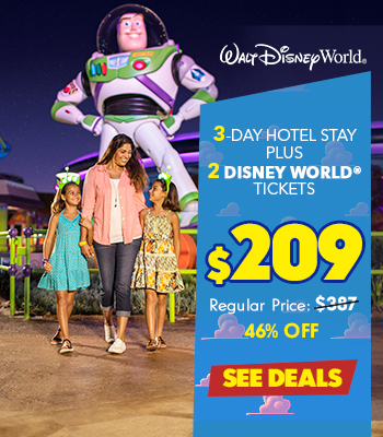 $209 – 3 Day Hotel Stay + 2 Disney Tickets