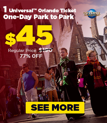 $45 – 1 Universal Orlando Ticket 1 Day Park to Park
